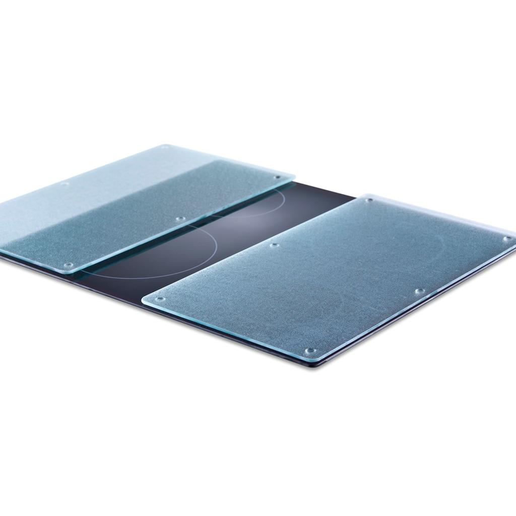 Zeller Present Schneide- und Abdeckplatte »Glas«, (Set, 2 tlg.), Mit 6 rutschfesten Elastikfüßen pro Platte