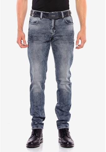 Cipo & Baxx Slim-fit-Jeans, mit Gitter-Musterung in Straight Fİt kaufen