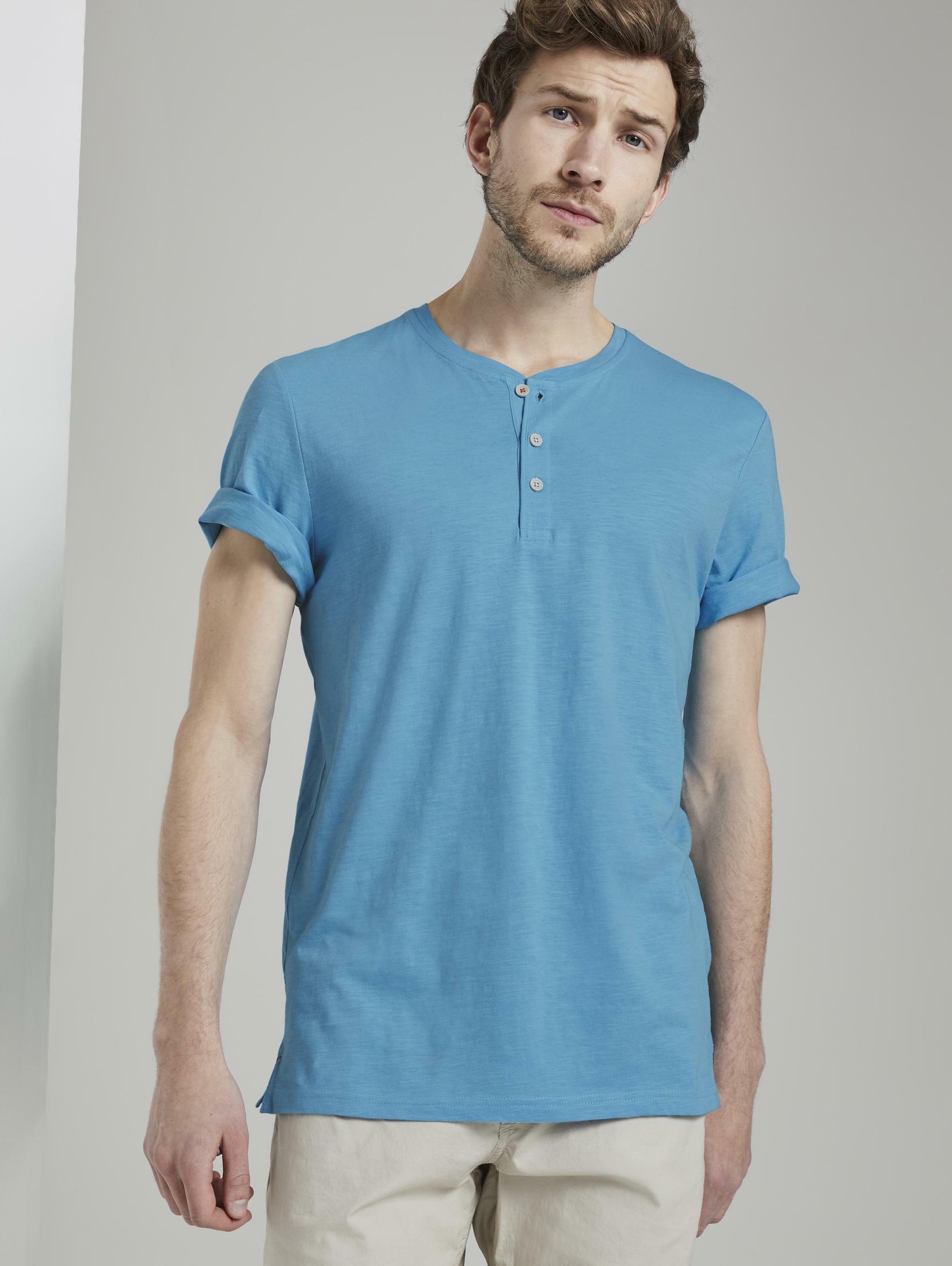 tom tailor -  T-Shirt Basic Henley-T-Shirt in Melange-Optik