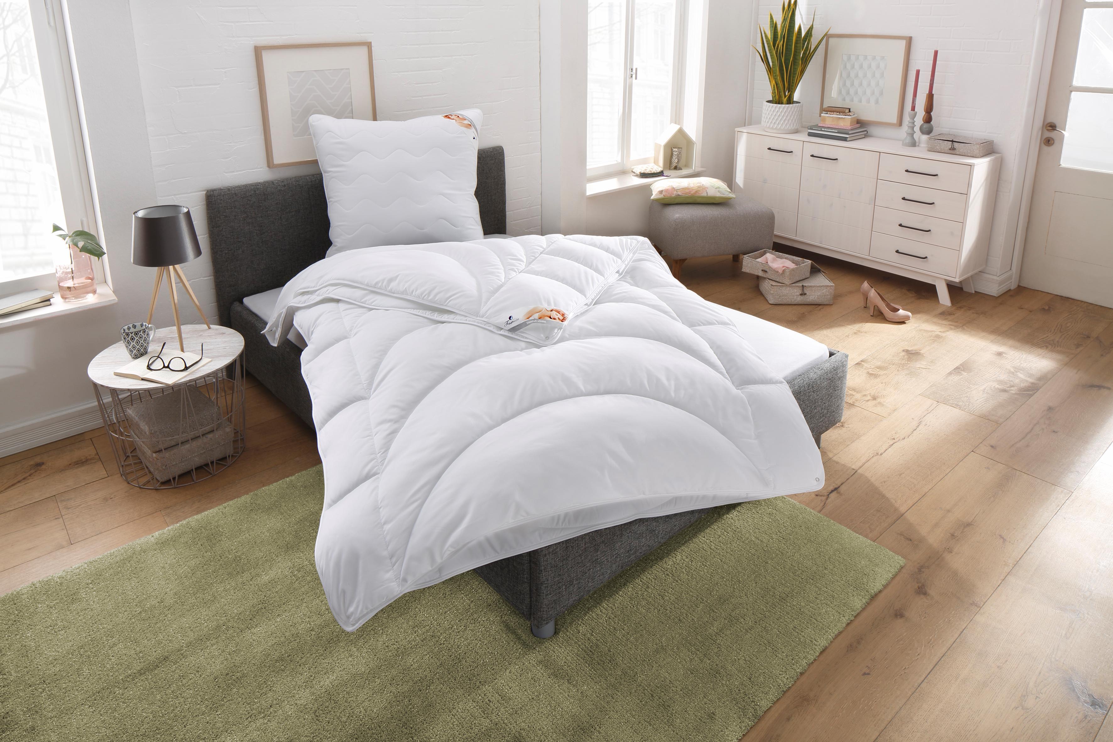 4-Jahreszeitenbett + Kopfkissen Microlux Baumwolle Traumecht 4-Jahreszeiten
