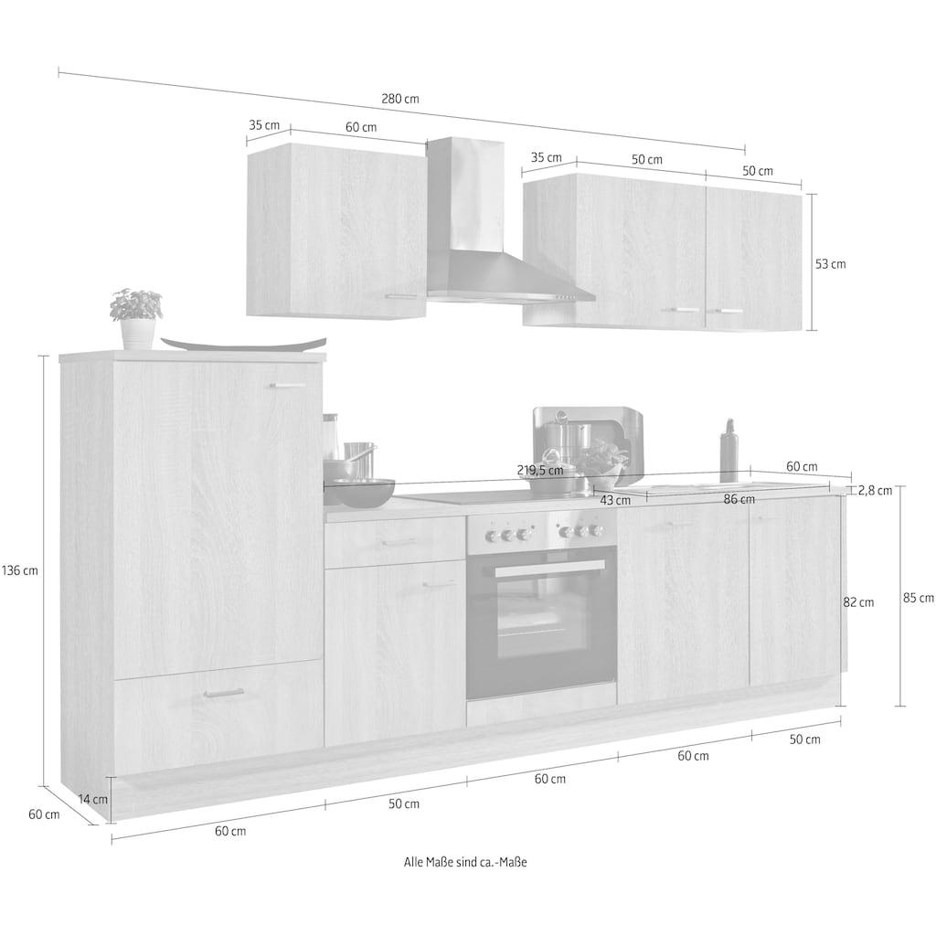Menke Küchen Küchenzeile »Classic«, Küchenzeile mit E-Geräten, Breite 280 cm