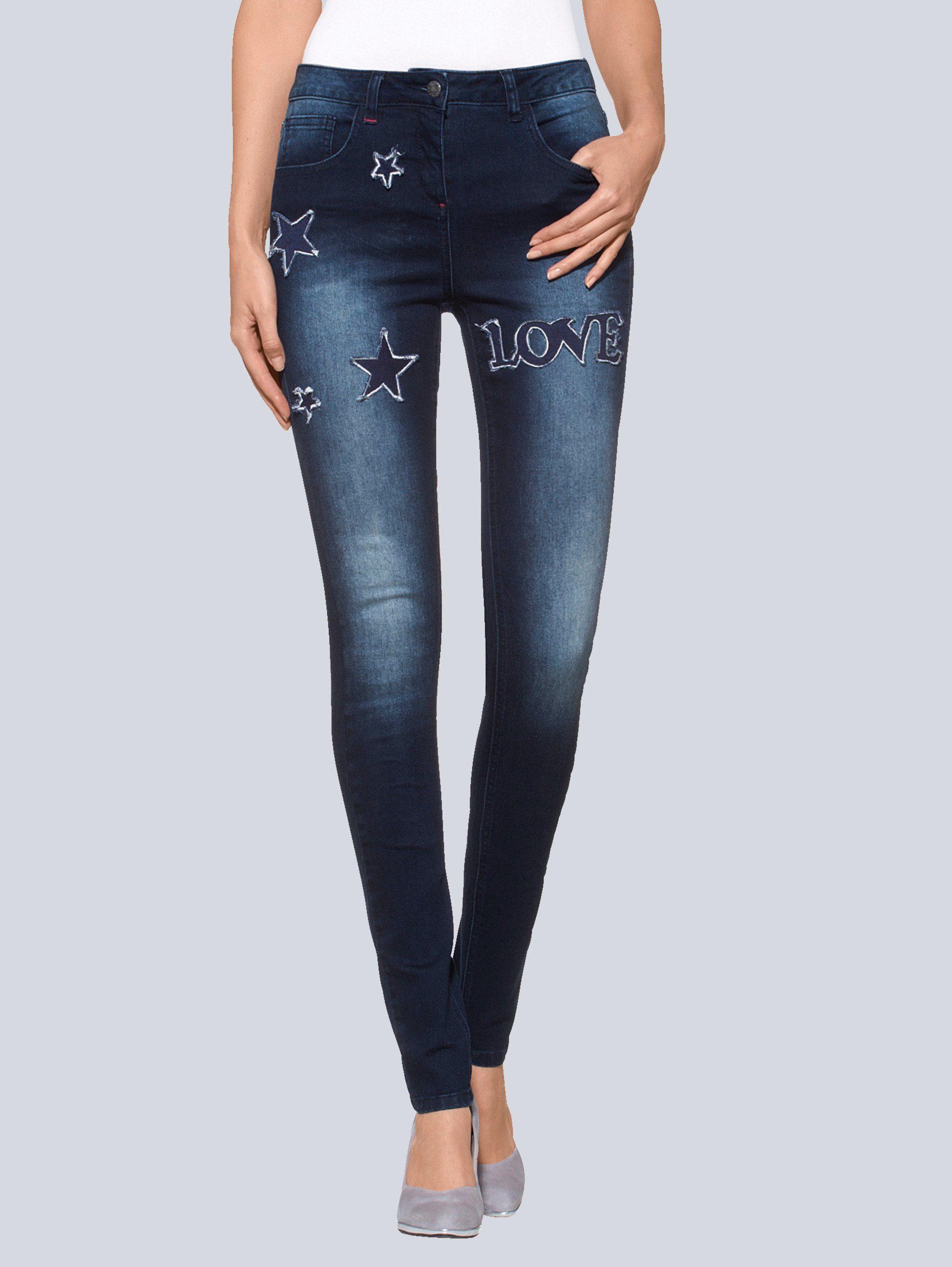 Alba Moda Skinny-Jeans mit Sternenpatch | 04055714348043