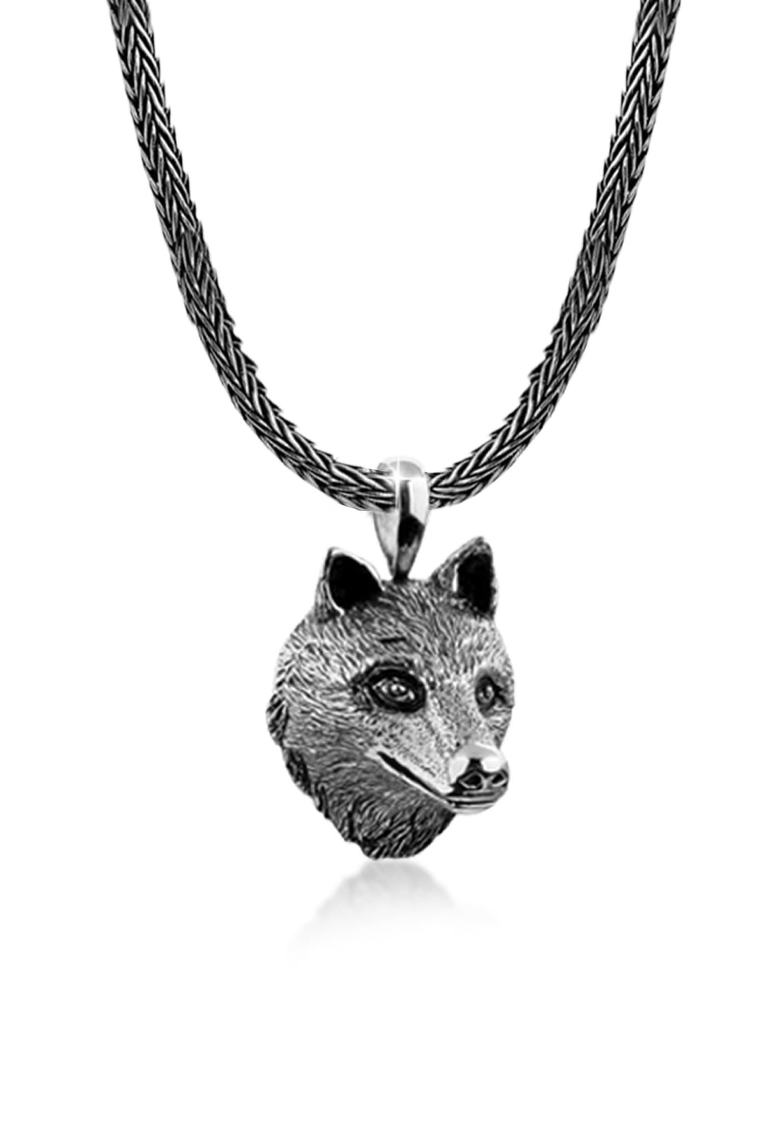 Kuzzoi Silberkette Männerkette Wolfskopf Anhänger Massiv 925 Silber | Schmuck > Halsketten | Kuzzoi