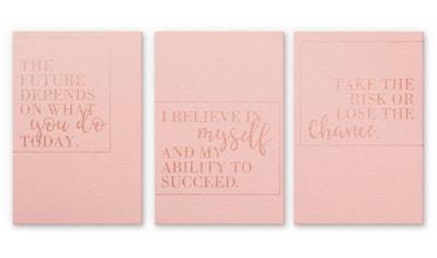 Wall-Art Mehrteilige Bilder »Kupfereffekt Motivation Collage«, (Set, 3 St.) kaufen