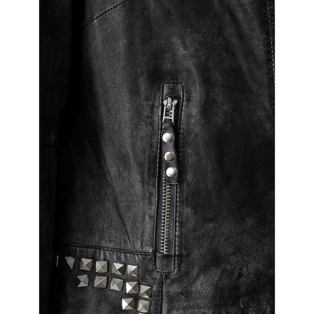 Angel of Style by HAPPYsize Lederjacke, mit Nieten an Kragen, Schultern und Ärmeln