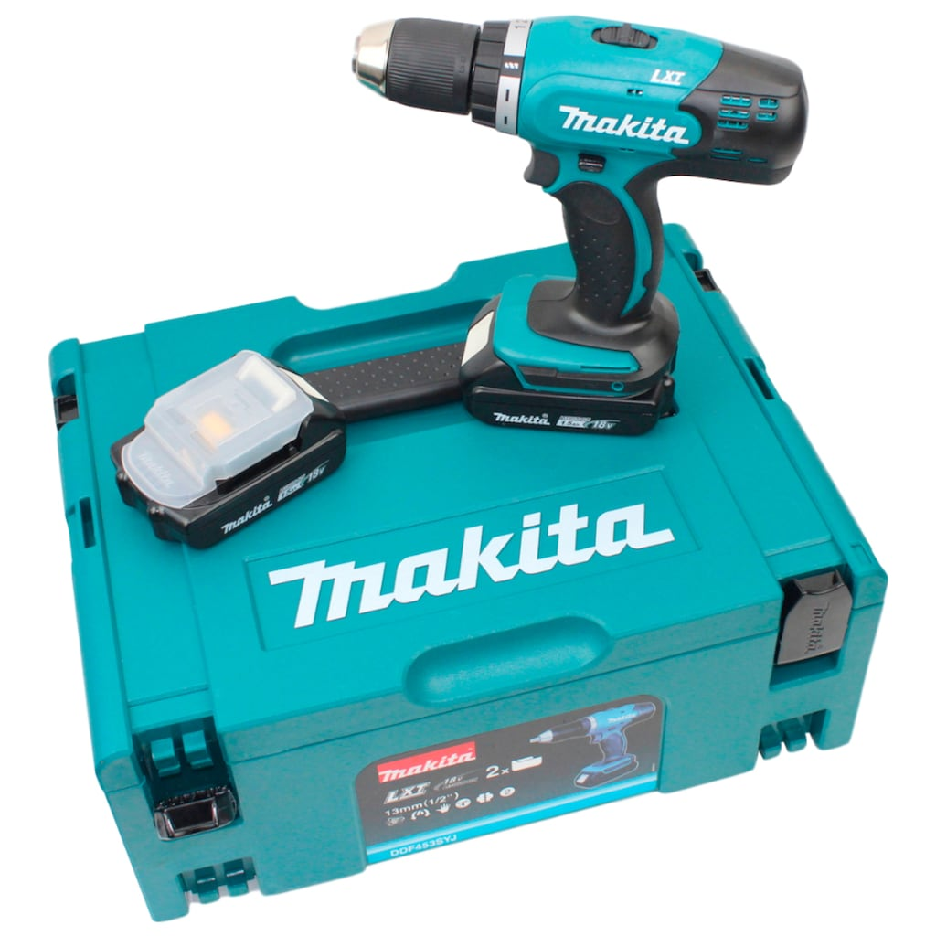 Makita Akku-Bohrschrauber »DDF453SYJ«, (Set, 5 tlg.), 18 V, inkl. 2 Akkus, Ladegerät und MAKPAC Gr.2
