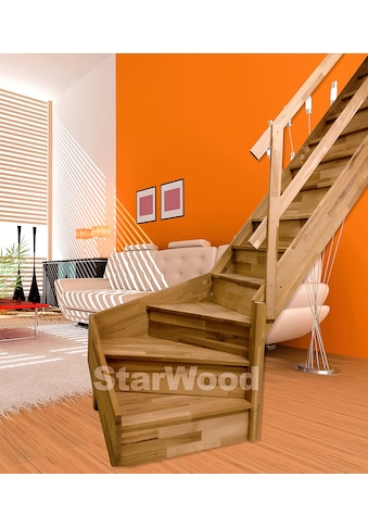 STARWOOD Raumspartreppe »Rhodos«, geschl. Stufen, 1/4 rechts gewendelt, Holzgeländer rechts kaufen