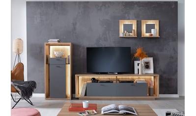 MCA furniture Wohnwand »Lizzano«, (Set, 4 St.), im modernen Landhausstil mit 3-D... kaufen