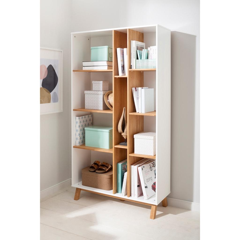 Home affaire Bücherregal »Saillon«, aus massivem Kiefernholz, mit vielen Stauraummöglichkeiten, Breite 100 cm