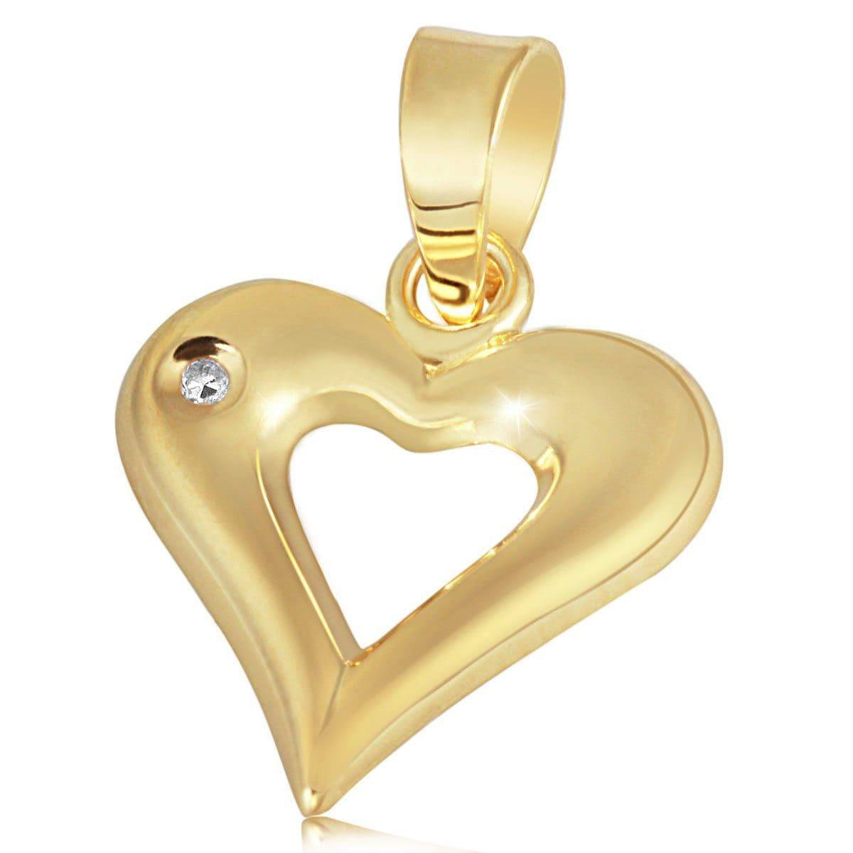 goldmaid Anhänger Herz Gelbgold 585/- 1 Diamant 0,01 ct. | Schmuck > Halsketten > Herzketten | Goldfarben | GOLDMAID
