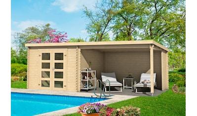 OUTDOOR LIFE PRODUCTS Gartenhaus »Novia 275«, BxT: 620x309 cm, inkl. Anbaudach mit Rückwand kaufen