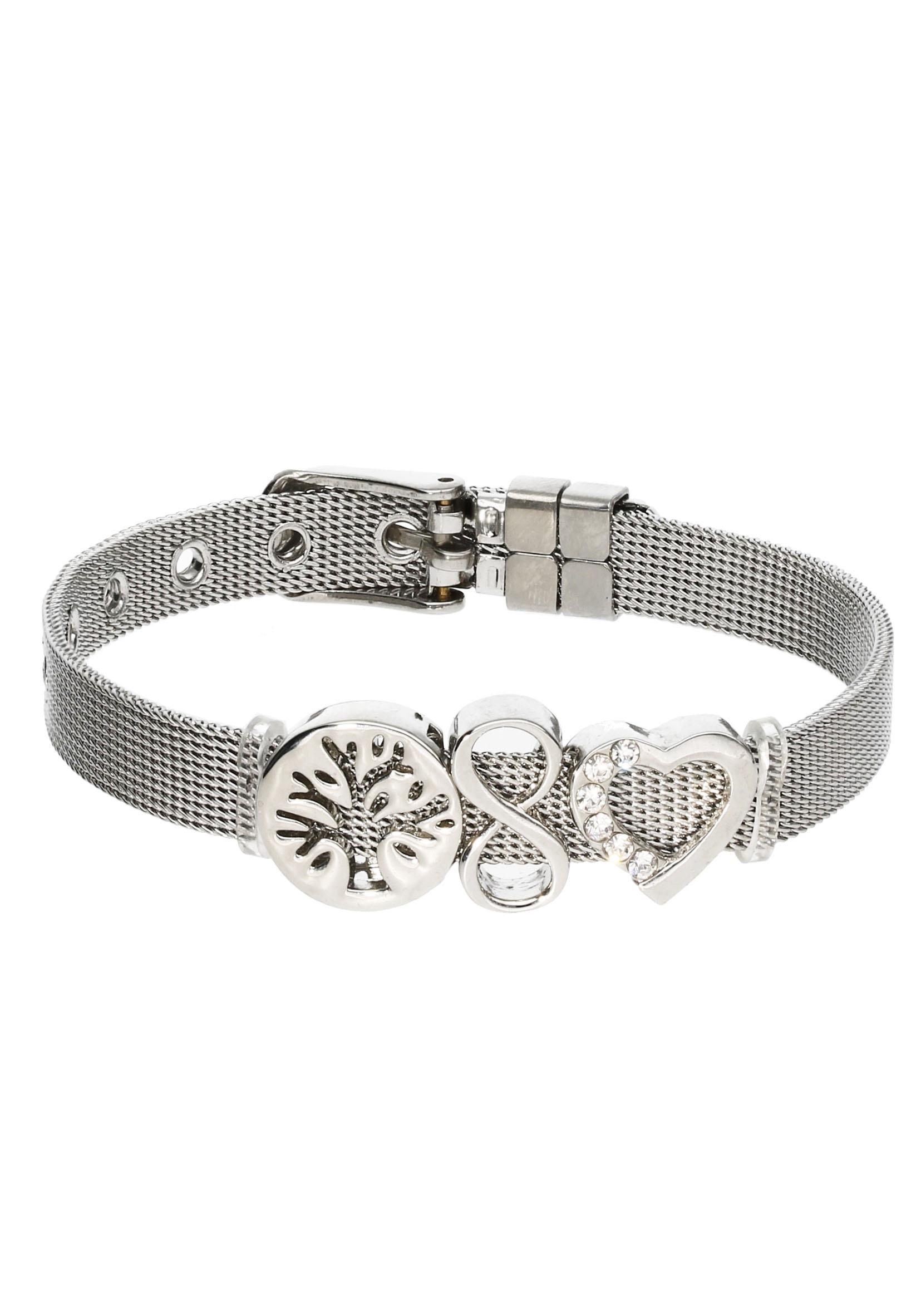 firetti -  Armband Set Milanaise Lebensbaum Infinity/Unendlichkeitsschleife Herz 78 mm breit