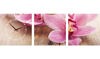 Conni Oberkircher´s Bild »Pink Flower«, Orchidee, (Set), mit dekorativer Uhr kaufen