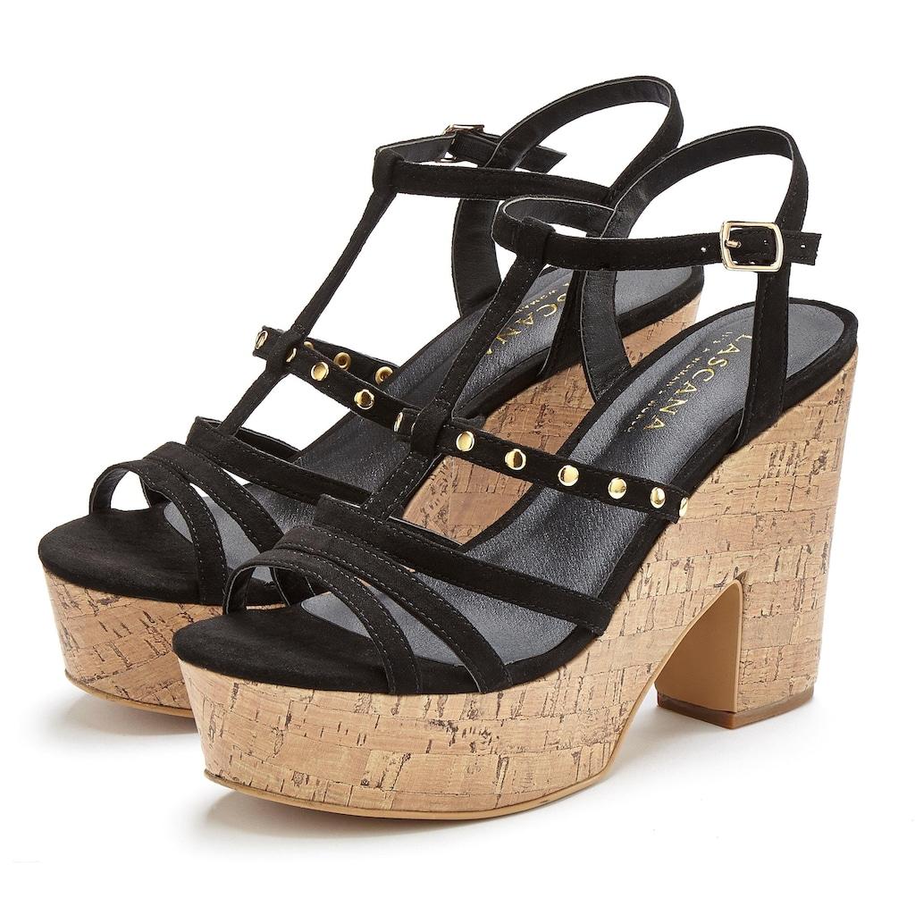 LASCANA High-Heel-Sandalette, mit modischem Plateau und Kork-Look