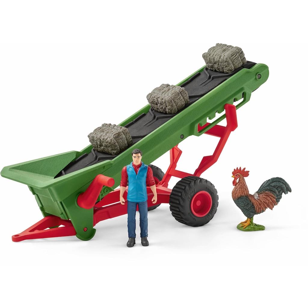 Schleich® Spielfahrzeug-Anhänger »Farm World, Heuförderband mit Bauer (42377)«, Made in Germany
