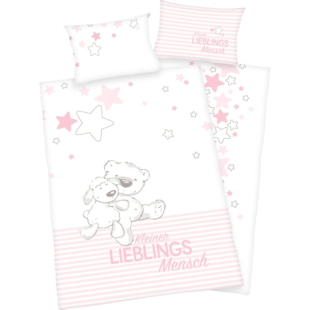 Baby Best Babybettwäsche »Kleiner Lieblingsmensch«, mit niedlichem Teddy-Motiv