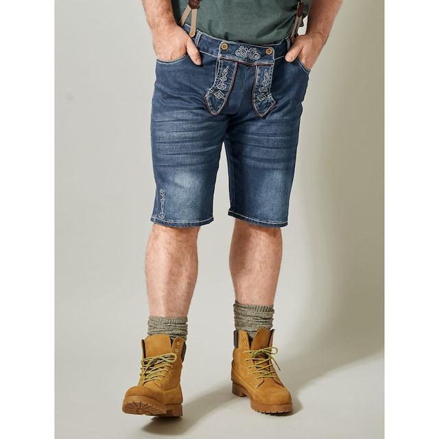 Men Plus by Happy Size Jeansbermuda im Trachten-Look inkl. Hosenträger
