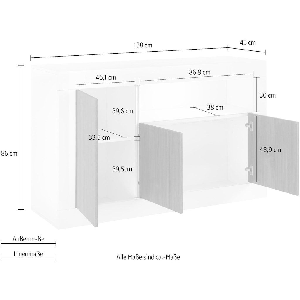 LC Sideboard »Urbino«, Breite 138 cm