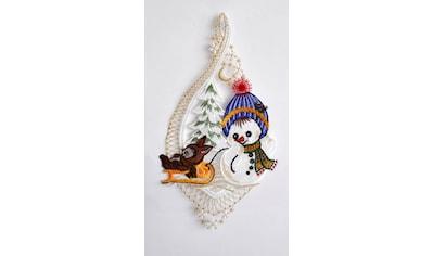 Stickereien Plauen Fensterbild »Schneekind mit Hase« (1 Stück) kaufen