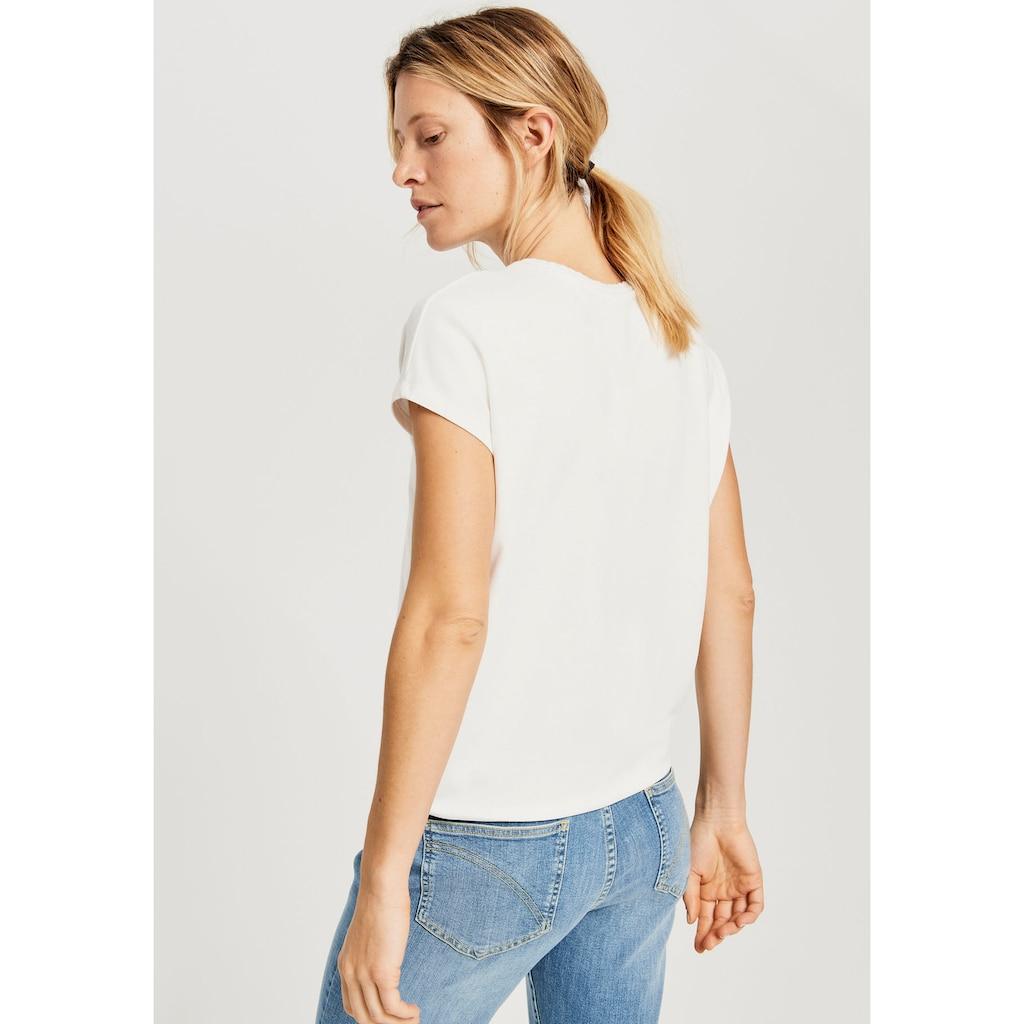 OPUS T-Shirt »Sudella crochet«, tolles Basic Shirt mit Häkelkante am Ausschnitt