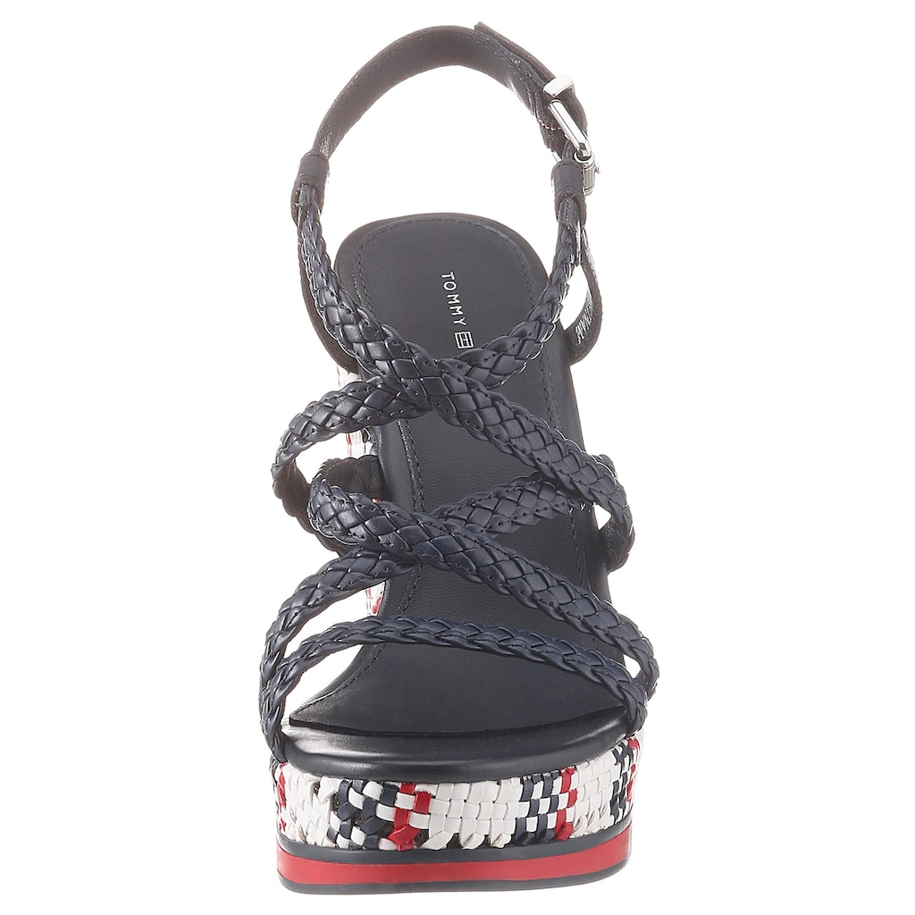TOMMY HILFIGER High-Heel-Sandalette »TOMMY INTERWOVEN HIGH WEDGE«, mit verstellbarem Riemchen
