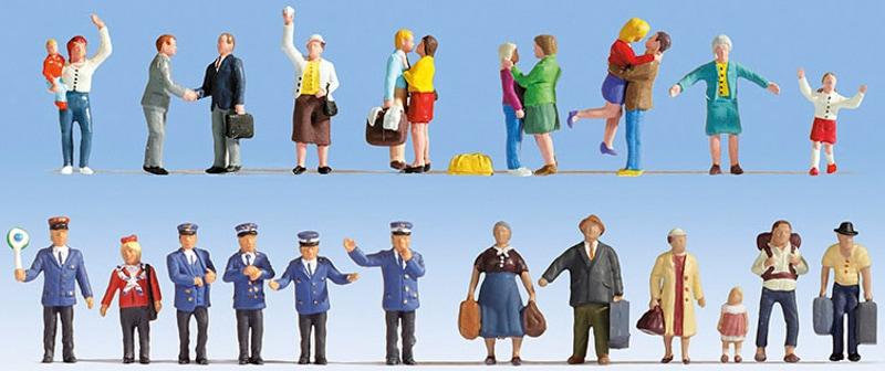 NOCH Modelleisenbahn-Figur Auf dem Bahnhof, (Set, 24 tlg.), für Spurweite H0 bunt Kinder Noch