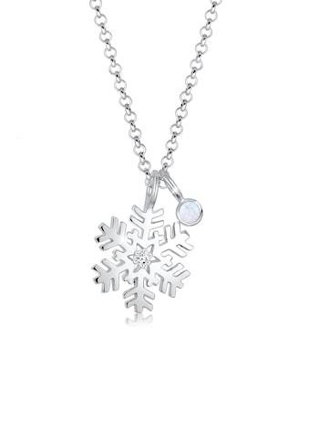 Elli Collierkettchen »Schneeflocke Mondstein Kristalle Silber« kaufen