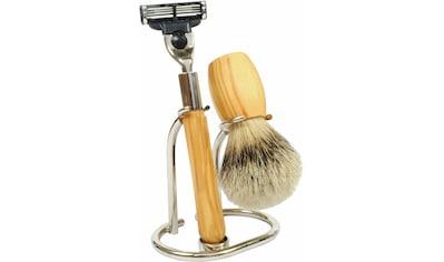 Golddachs Rasierset, mit Rasierer (Mach3) und Pinsel (Silberspitze) kaufen
