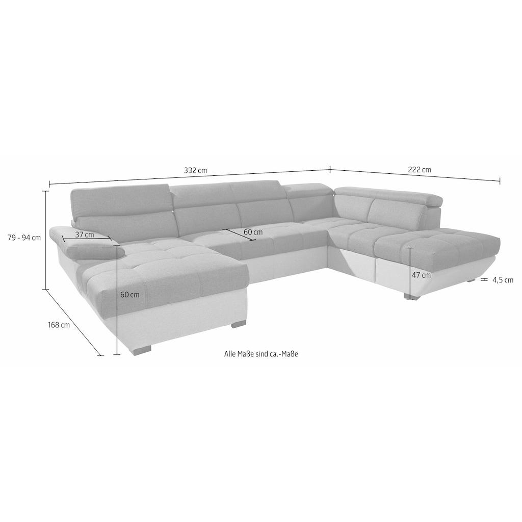 COTTA Polstergarnitur, (Set), Set: bestehend aus Ecksofa und Hocker, Ecksofa wahlweise mit Bettfunktion und Bettkasten
