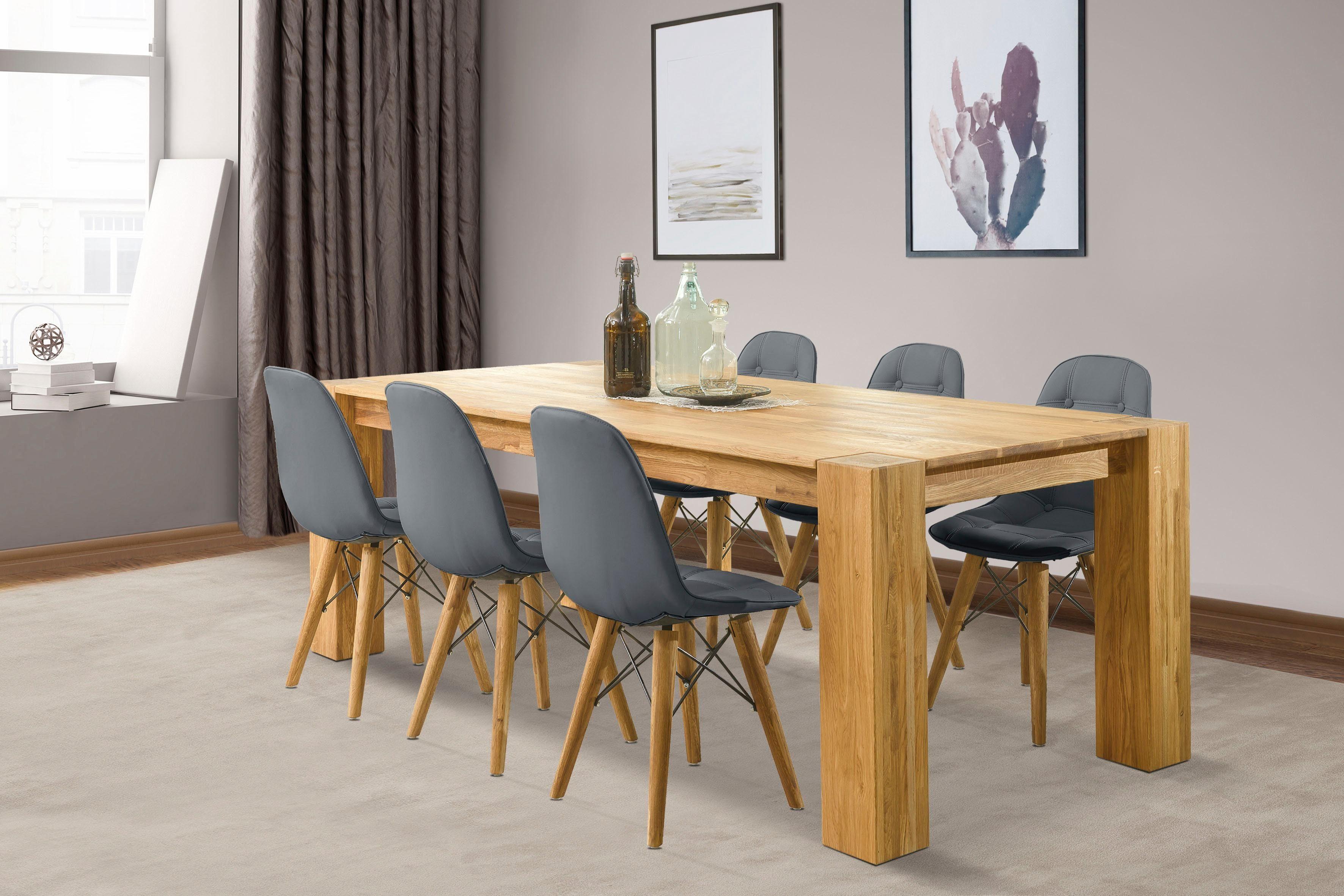 Home affaire Essgruppe Juna beige Holz-Esstische Holztische Tische Sitzmöbel-Sets