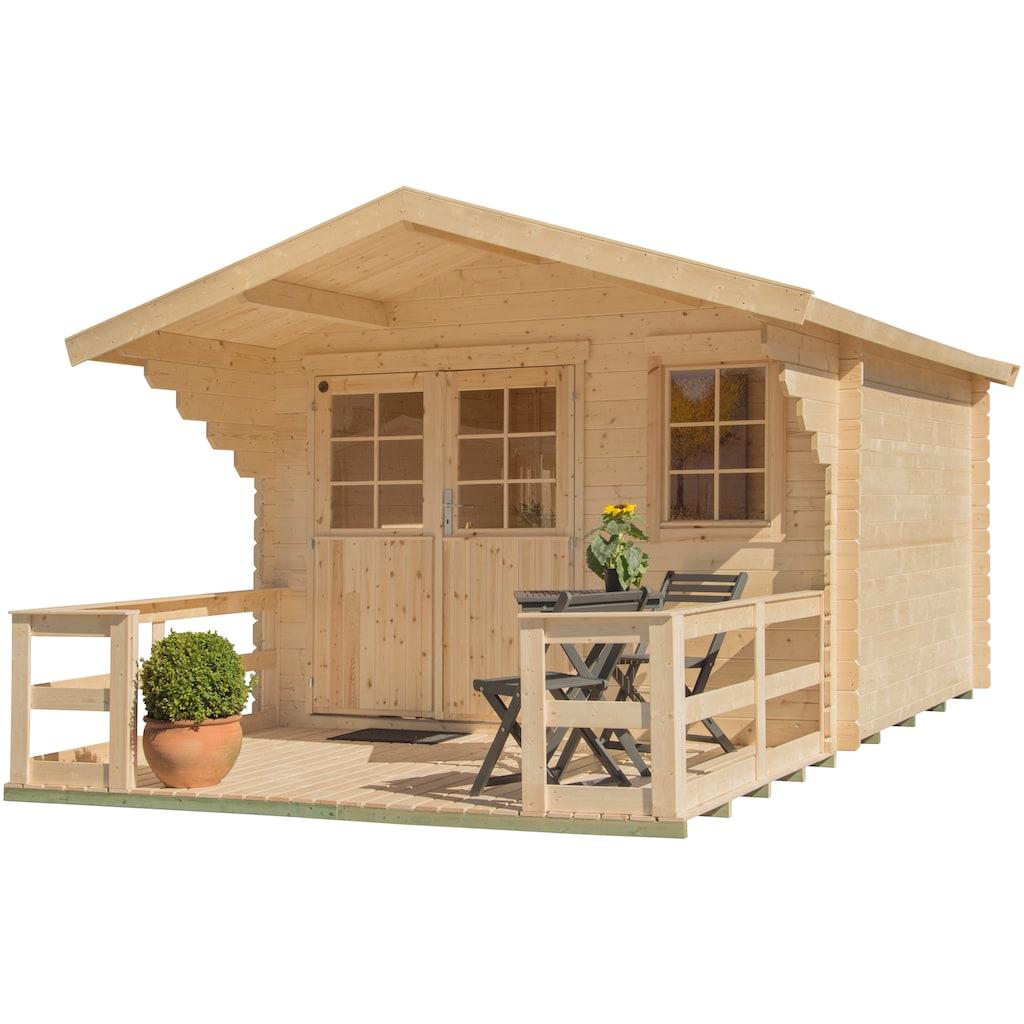 Kiehn-Holz Set: Gartenhaus »Kallenberg 3«, BxT: 400x511 cm, inkl. Terrasse, Vordach und Fußboden