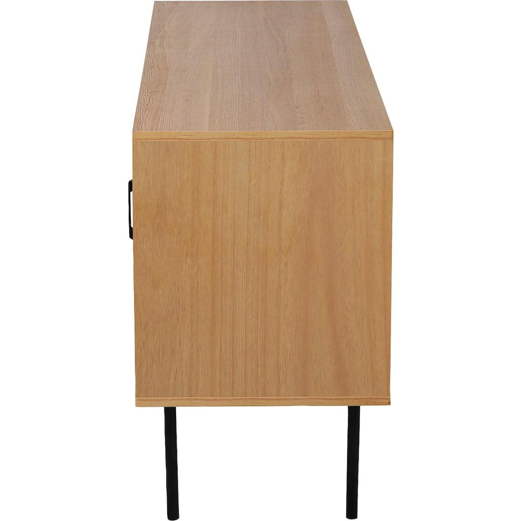 my home Lowboard »Ailis«, Türen mit Einsatz aus Rattangeflecht, 2 Kabeldurchführungen