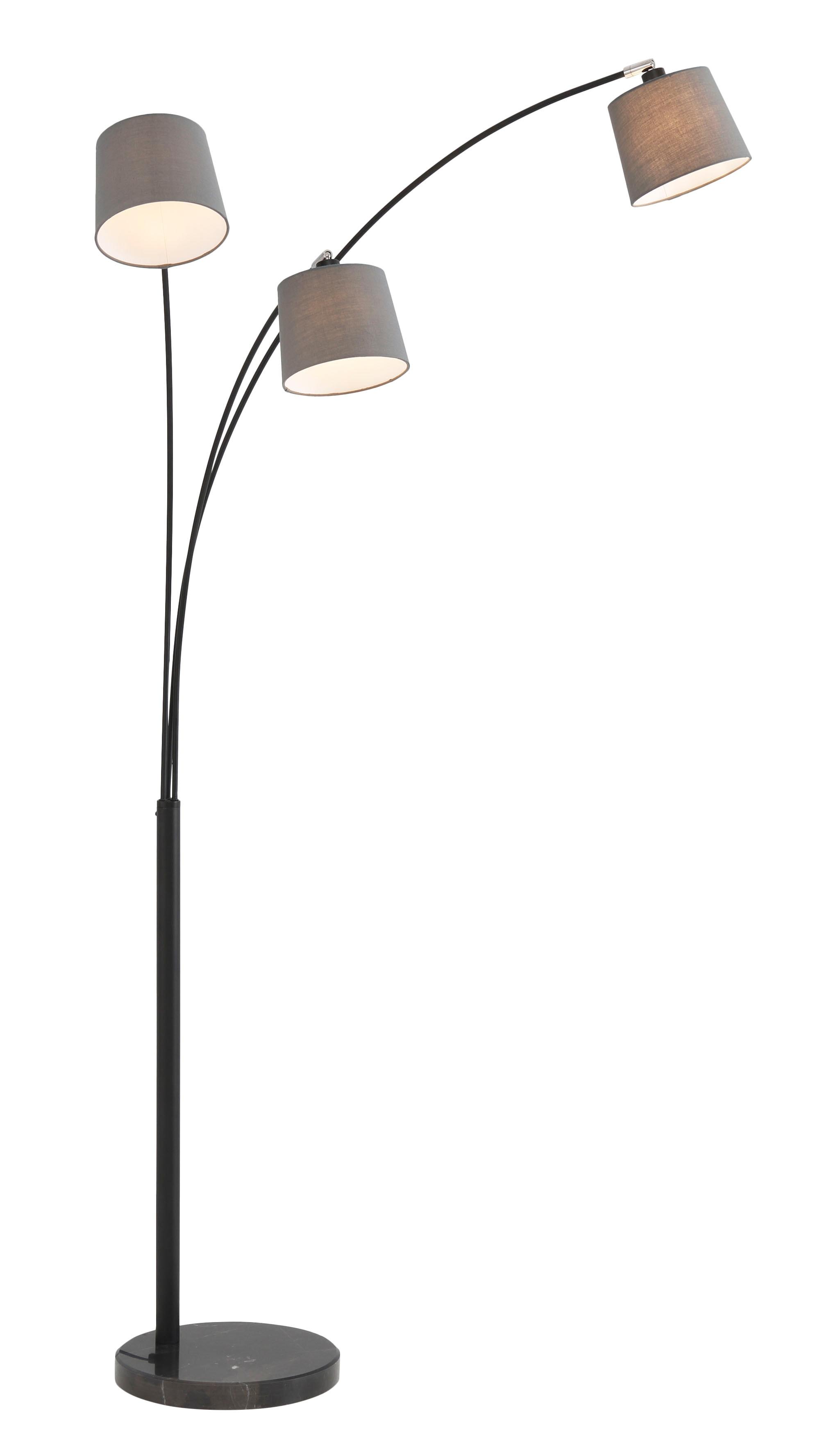 Home affaire Stehlampe Tannegg, E14, Stehleuchte / Bogenlampe mit Marmor - Fuß, graue Stoffschirme Ø 14,5-18 cm