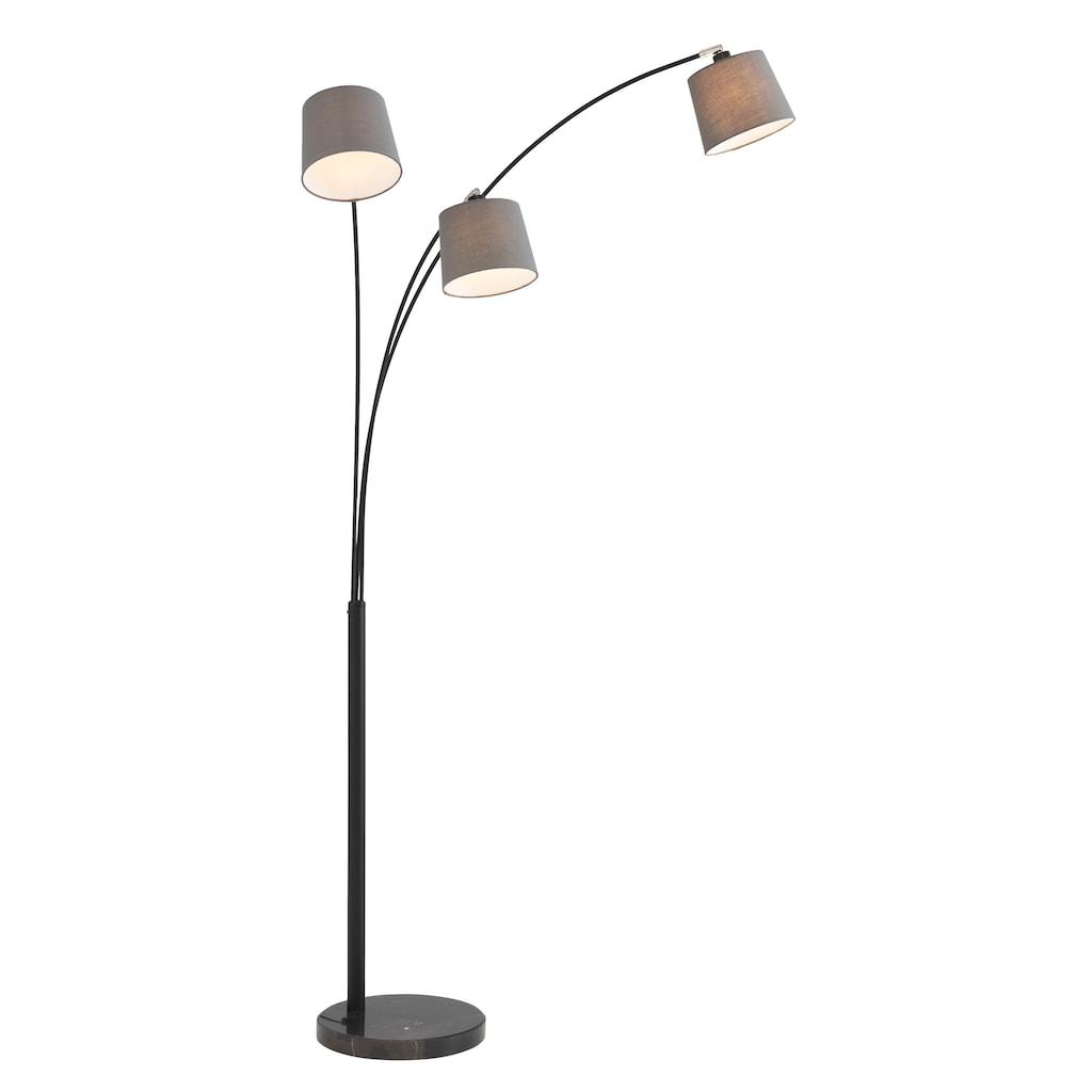 Home affaire Stehlampe »Tannegg«, E14, Stehleuchte / Bogenlampe mit Marmor - Fuß, graue Stoffschirme Ø 14,5-18 cm