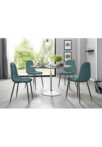 Essgruppe, (Set, 5 tlg.), mit rundem Tisch im Zement-Optik kaufen