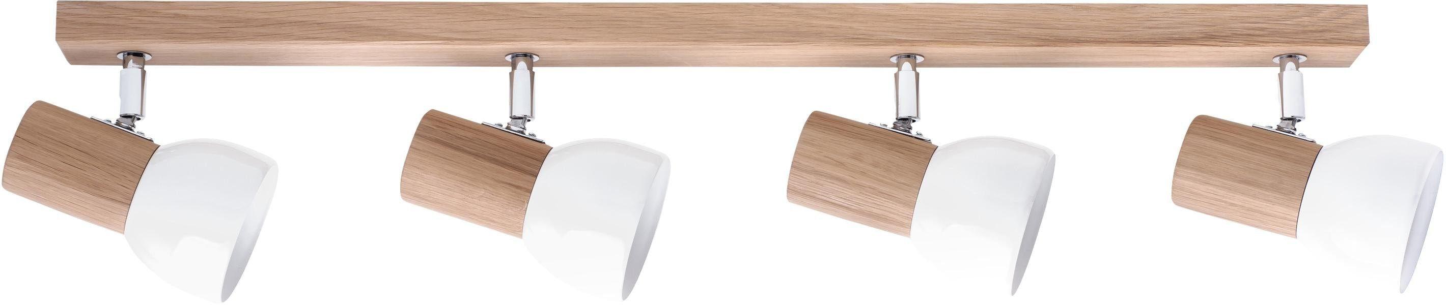 SPOT Light Deckenleuchte SVENDA, E27, Naturprodukt aus Massivholz, Nachhaltig mit FSC-Zertifikat, Mit flexiblen Spots, Schirm aus Metall, Passende LM E27, Made in EU