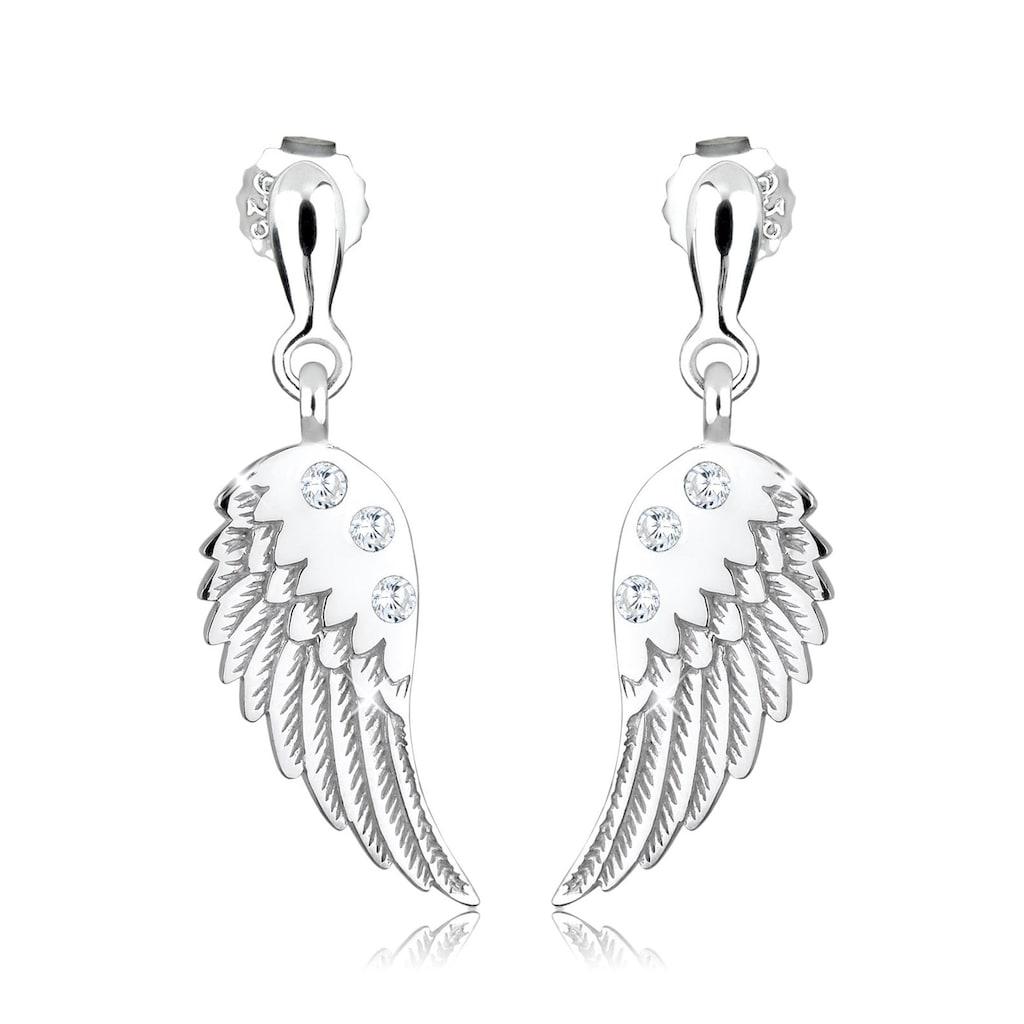 Elli Paar Ohrhänger »Flügel Engel Religion Zirkonia 925 Silber«
