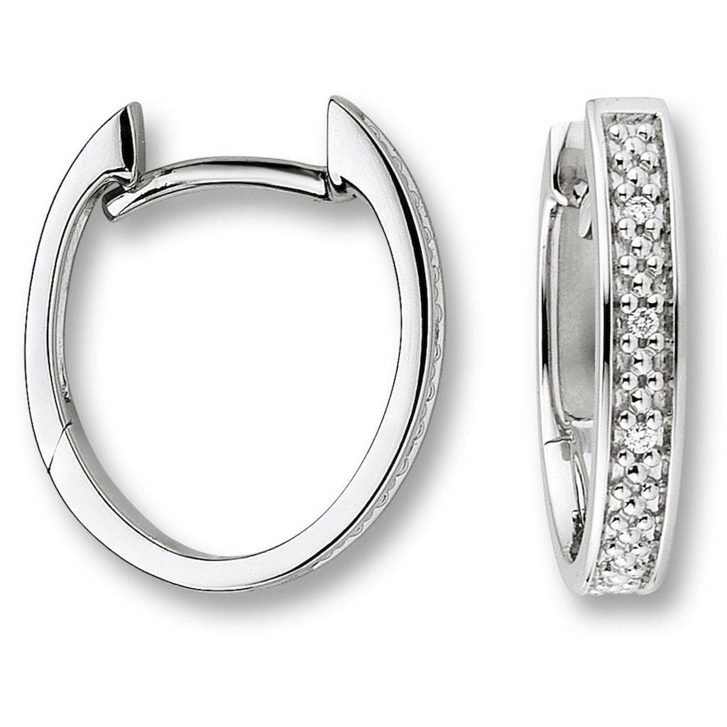 ONE ELEMENT Paar Creolen »Orhringe / Creolen aus 585 Weißgold mit 0,02 ct Diamant«