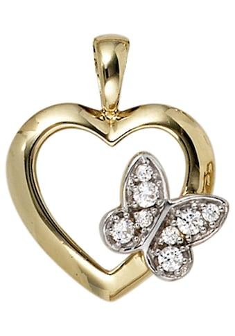 JOBO Herzanhänger »Schmetterling«, 333 Gold mit Zirkonia kaufen
