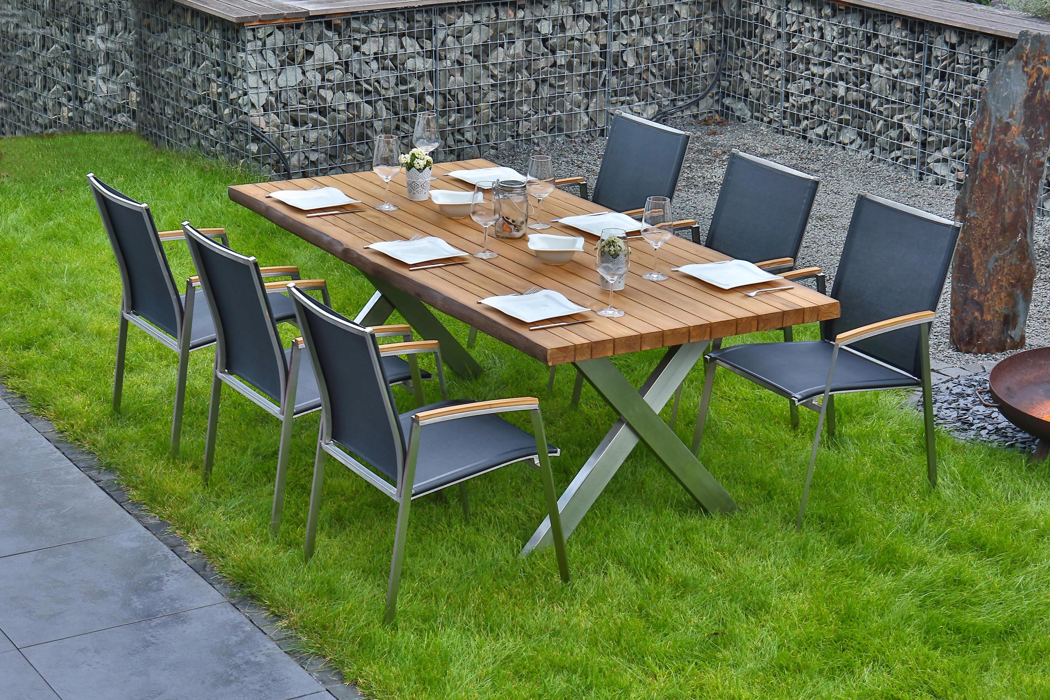 BELLASOLE Gartenmöbelset 7-tlg 6 Stühle Tisch 200x100 cm Teakholz