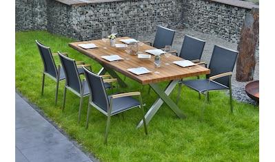 BELLASOLE Gartenmöbelset 7 - tlg., 6 Stühle, Tisch 200x100 cm, Teakholz kaufen
