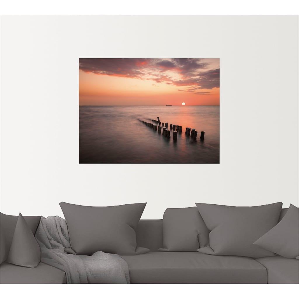 Artland Wandbild »Sonnenuntergang am Meer I«, Sonnenaufgang & -untergang, (1 St.), in vielen Größen & Produktarten - Alubild / Outdoorbild für den Außenbereich, Leinwandbild, Poster, Wandaufkleber / Wandtattoo auch für Badezimmer geeignet