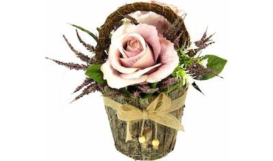 I.GE.A. Kunstpflanze »Gesteck Rosen in Rindentopf« (1 Stück) kaufen