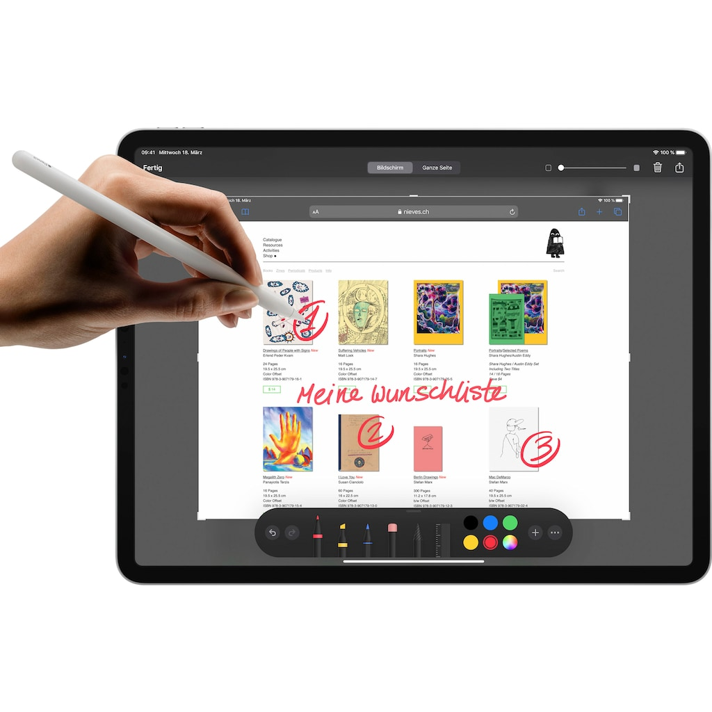 Apple Tablet »iPad Pro 12.9 (2020) - 1 TB WiFi«, Kompatibel mit Apple Pencil 2