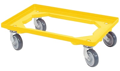 Transportroller, BxT: 60x40 cm, gelb 4 Lenkrollen, graue Gummiräder kaufen