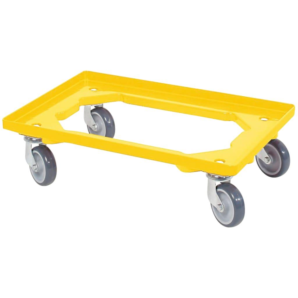 Transportroller, BxT: 60x40 cm, gelb 4 Lenkrollen, graue Gummiräder