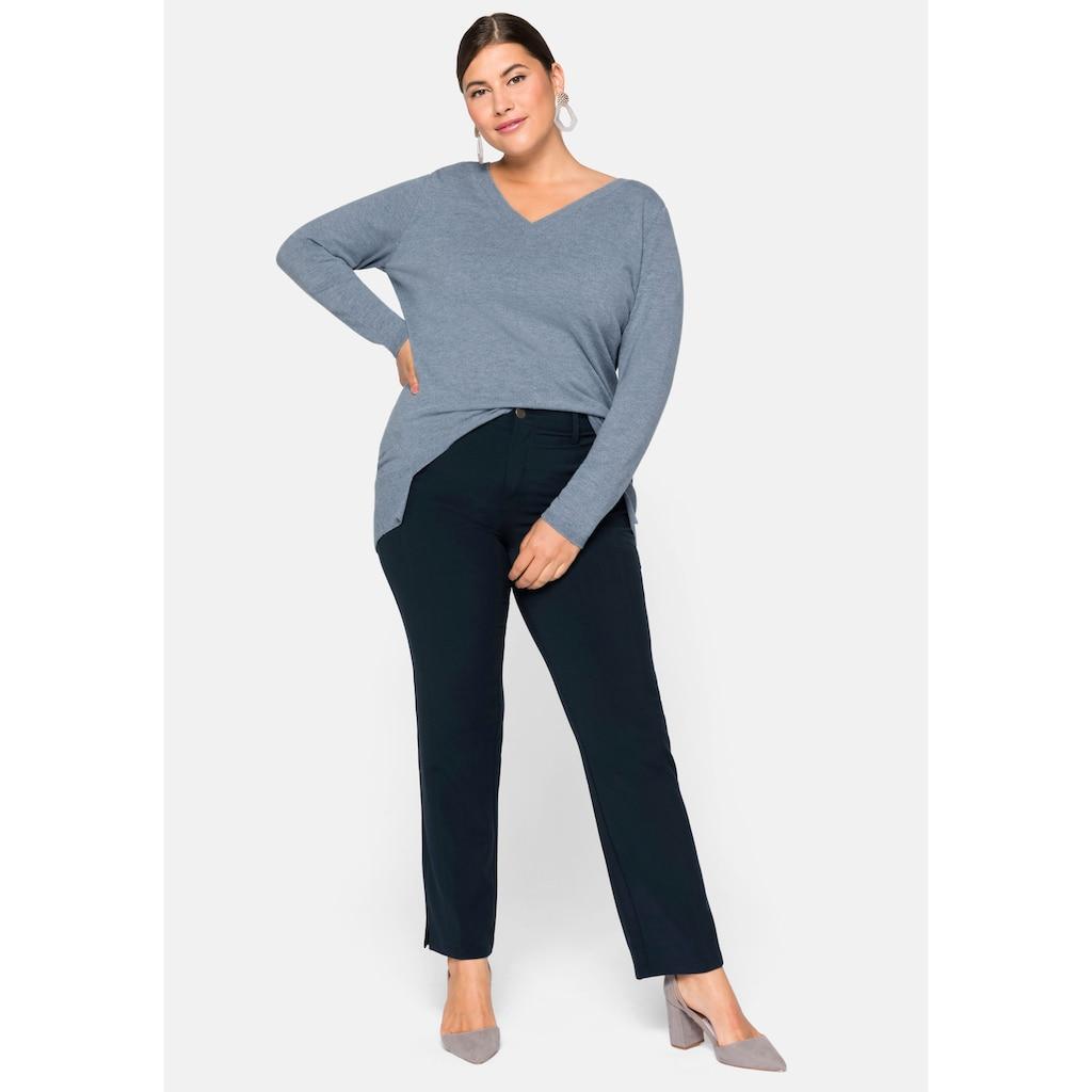 Sheego Stretch-Hose, mit streckender vorverlegter Seitennaht vorn