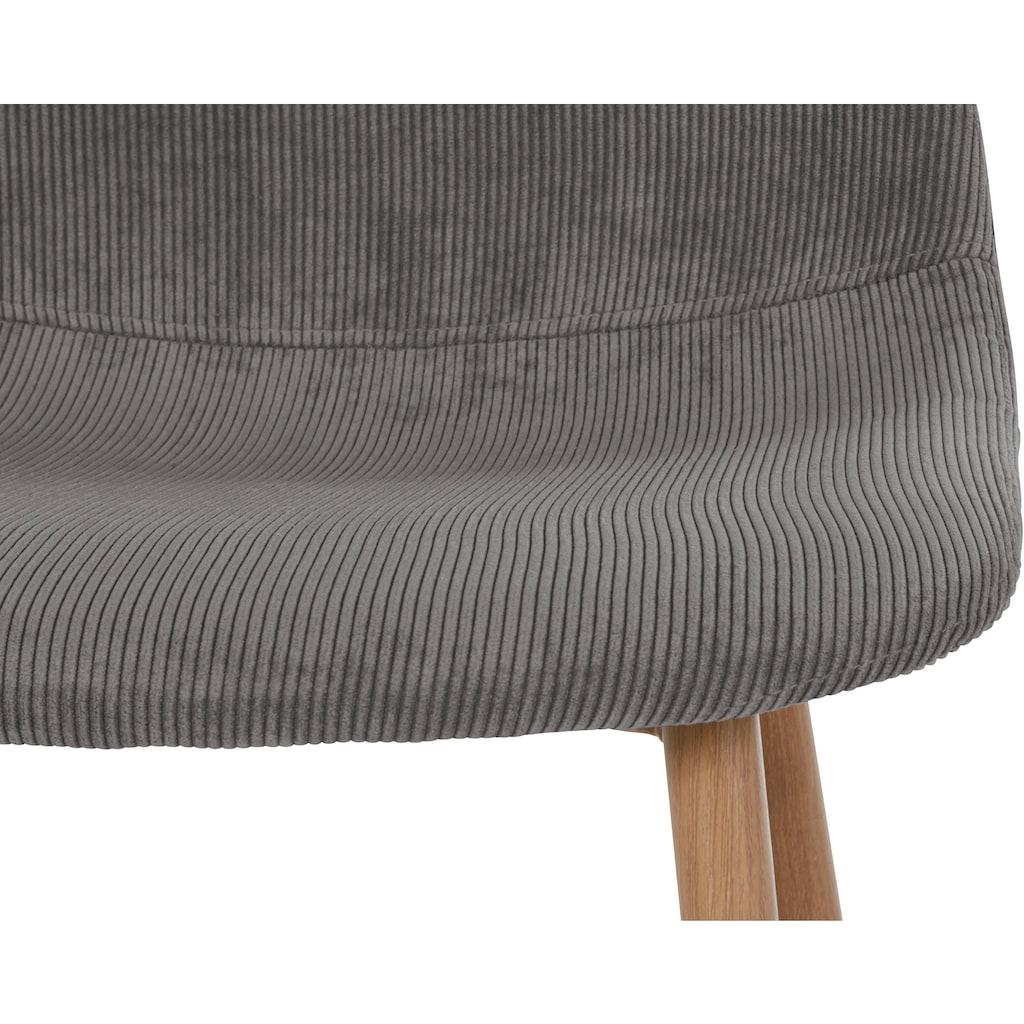 Homexperts 4-Fußstuhl »Kaitlin«, (2 oder 4 Stück), Bezug in Cordstoff, Metallgestell in Holzoptik