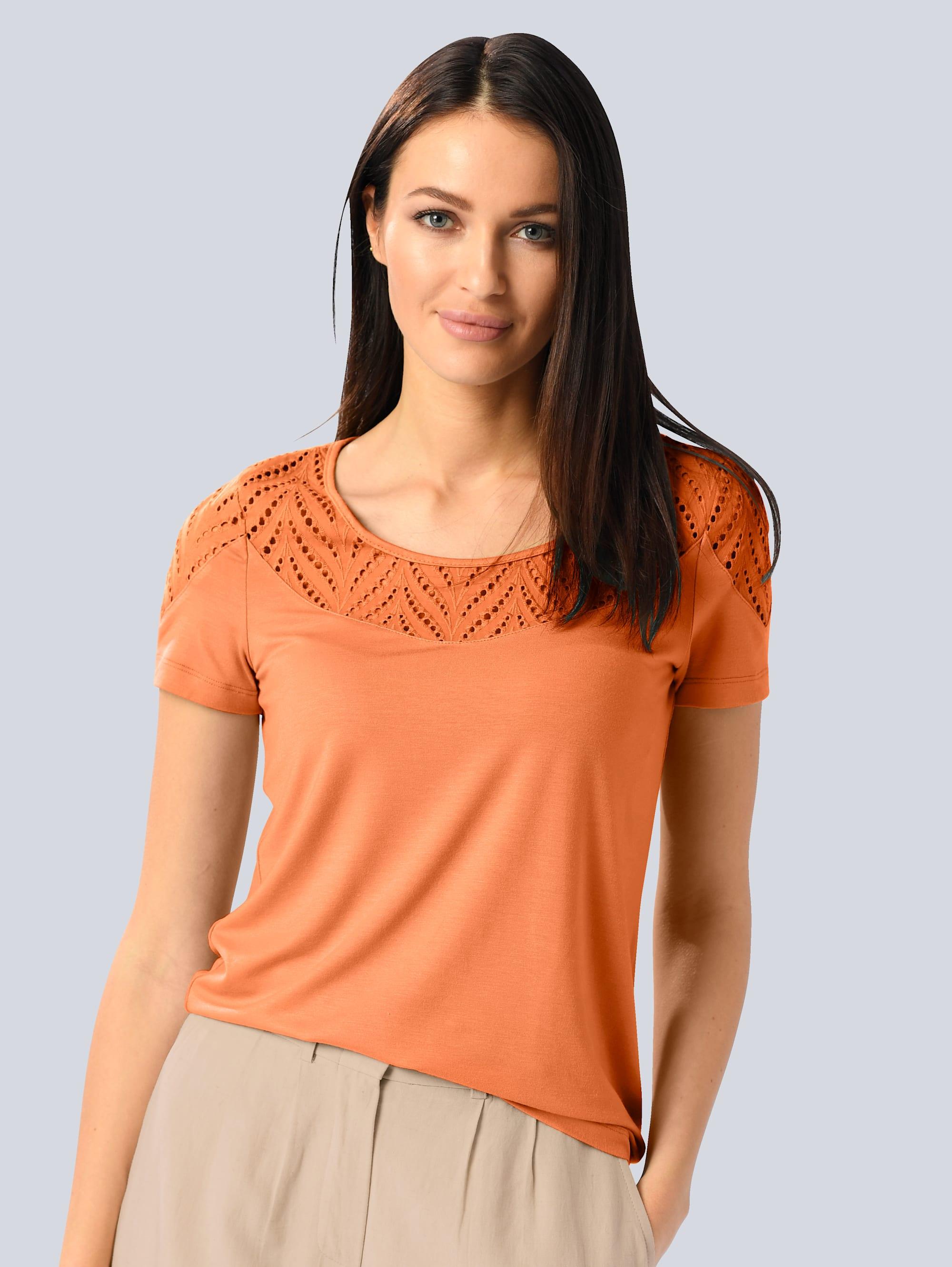 alba moda -  T-Shirt, mit Lochstickerei