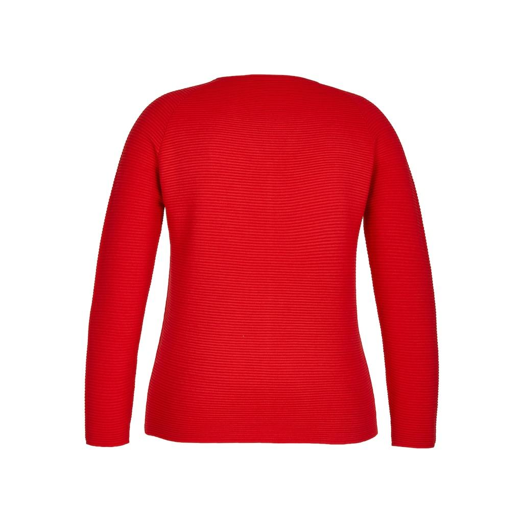 LeComte V-Ausschnitt-Pullover, mit Raglan-Ärmeln und Rippstrick